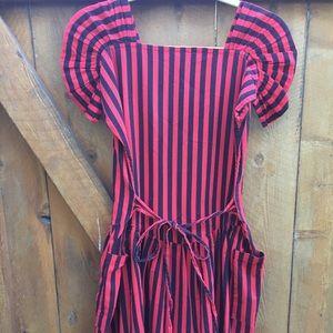 Red and black vintage dress
